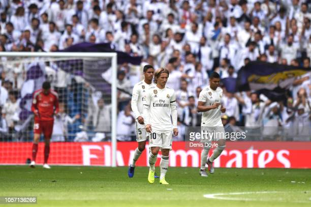 Luka Modric of Real Madrid reacts after they concede a goal during the La Liga match between Real Madrid CF and Levante UD at Estadio Santiago...