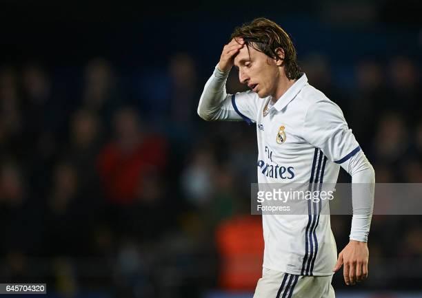 Luka Modric of Real Madrid reacts during the La Liga match between Villarreal CF and Real Madrid at Estadio de la Ceramica on February 26 2017 in...