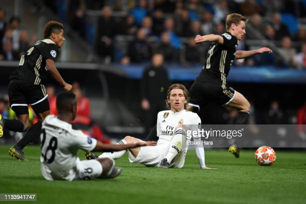 Luka Modric of Real Madrid reacts during the UEFA Champions League Round of 16 Second Leg match between Real Madrid and Ajax at Bernabeu on March 05...