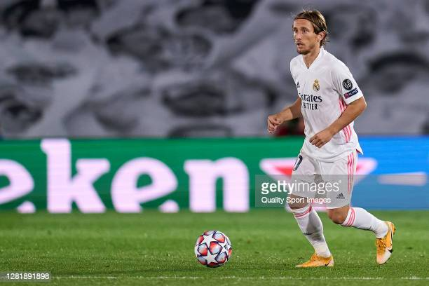 Luka Modric of Real Madrid runs with the ball during the UEFA Champions League Group B stage match between Real Madrid and Shakhtar Donetsk at...