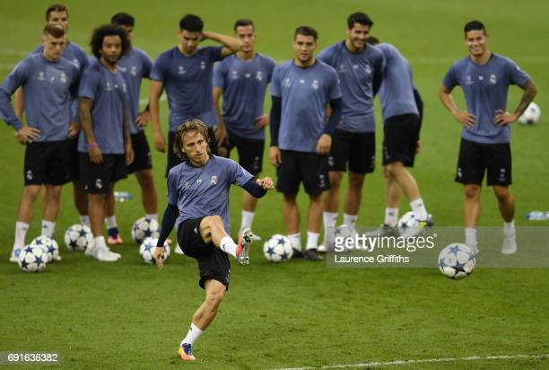 Luka Modric of Real Madrid shoots during a Real Madrid training session prior to the UEFA Champions League Final between Juventus and Real Madrid at...