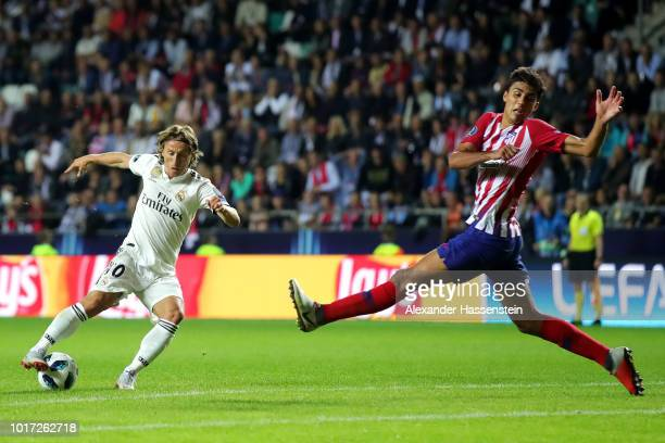 Luka Modric of Real Madrid shoots during the UEFA Super Cup between Real Madrid and Atletico Madrid at Lillekula Stadium on August 15 2018 in Tallinn...