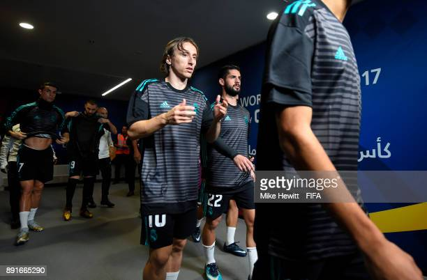 Luka Modric of Real Madrid walks out prior to the FIFA Club World Cup UAE 2017 semifinal match between Al Jazira and Real Madrid on December 13 2017...