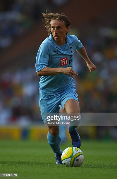 Luka Modric of Tottenham in action during the preseason match between Norwich City and Tottenham Hotspur at Carrow Road on July 28 2008 in Norwich...