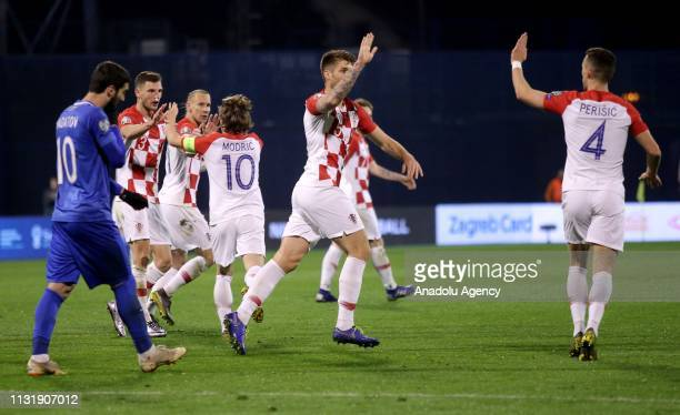 Luka Modric Perisic and other players of Croatia National Football Team celebrate after scoring a goal during the EURO 2020 Group E qualification...