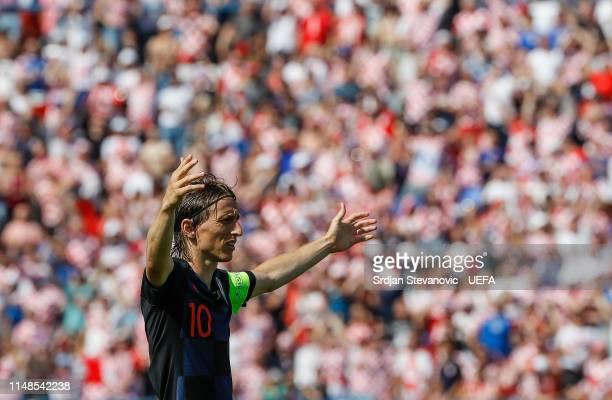 Luka Modric reacts during the UEFA Euro 2020 Qualifiers Group E match between Croatia and Wales at stadium Gradski Vrt on June 8 2019 in Osijek...
