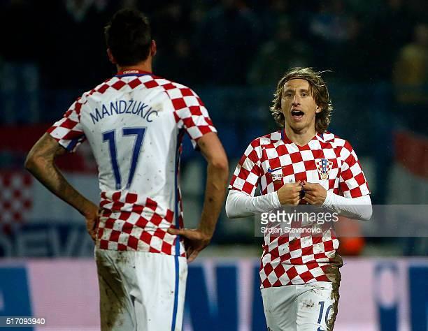 Luka Modric talking with Mario Mandzukic of Croatia during the International Friendly match between Croatia and Israel at stadium Gradski Vrt on...