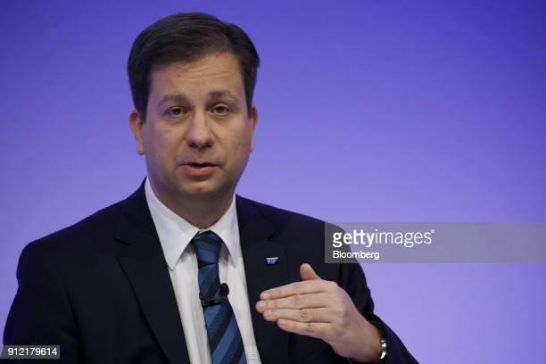 Luka Mucic chief financial officer of SAP SE speaks during a news conference to announce the businesssoftware maker's fourthquarter results in...