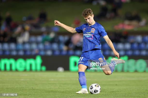Luka Prso of the Jets during the A-League match between Newcastle Jets and Central Coast Mariners at McDonald Jones Stadium, on May 15 in Newcastle,...