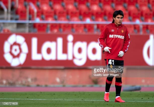 Luka Romero of Mallorca looks on during the Liga match between RCD Mallorca and CD Leganes at Iberostar Estadi on June 19 2020 in Mallorca Spain