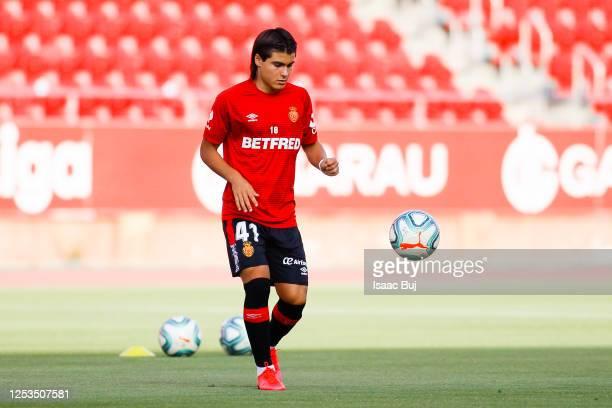 Luka Romero of RCD Mallorca controls the ball during the warm up prior to the Liga match between RCD Mallorca and RC Celta de Vigo at Visit Mallorca...