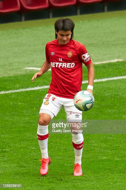 Luka Romero of RCD Mallorca during the prematch warm up prior to the Liga match between Athletic Club and RCD Mallorca at San Mames Stadium on June...
