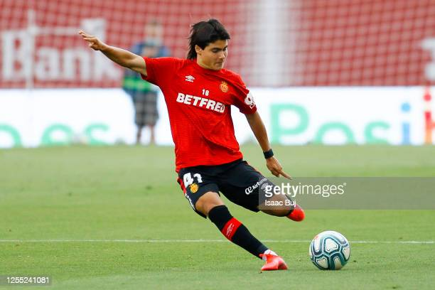 Luka Romero of RCD Mallorca in action during the warm up prior to the Liga match between RCD Mallorca and Levante UD at Iberostar Estadi on July 09...