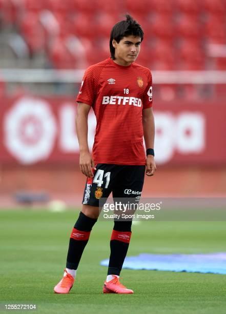 Luka Romero of RCD Mallorca looks on prior to the Liga match between RCD Mallorca and Levante UD at Iberostar Estadi on July 09 2020 in Mallorca...