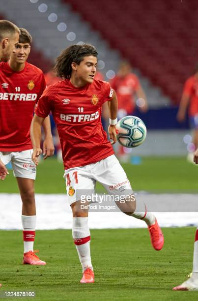 Luka Romero of RCD Mallorca warms up during the Liga match between Club Atletico de Madrid and RCD Mallorca at Wanda Metropolitano on July 3 2020 in...