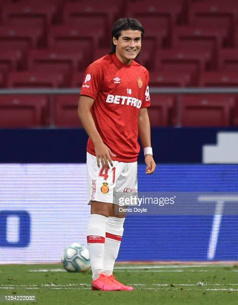 Luka Romero of RCD Mallorca warms up during the Liga match between Club Atletico de Madrid and RCD Mallorca at Wanda Metropolitano on July 03 2020 in...