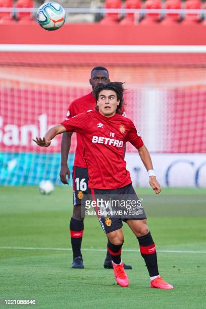 Luka Romero of RCD Mallorca warms up prior the Liga match between RCD Mallorca and CD Leganes at Iberostar Estadi on June 19 2020 in Mallorca Spain