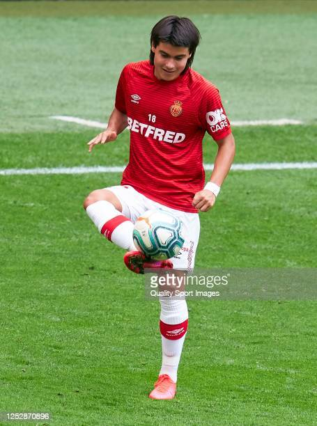 Luka Romero of RCD Mallorca warmsup during the Liga match between Athletic Club and RCD Mallorca at San Mames Stadium on June 27 2020 in Bilbao Spain