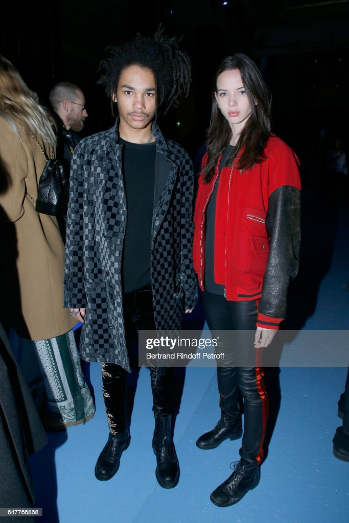 Luka Sabbat and Adriana Mora attend the Haider Ackermann show as part of the Paris Fashion Week Womenswear Fall/Winter 2017/2018 on March 4, 2017 in Paris, France.