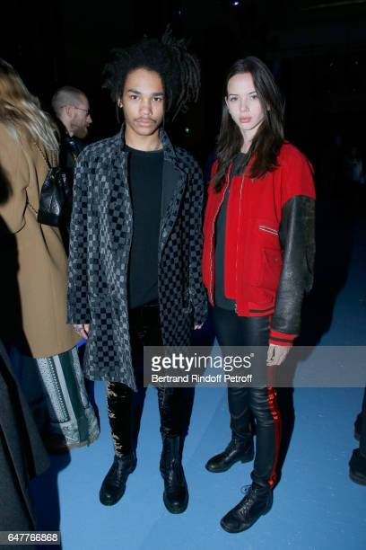 Luka Sabbat and Adriana Mora attend the Haider Ackermann show as part of the Paris Fashion Week Womenswear Fall/Winter 2017/2018 on March 4 2017 in...