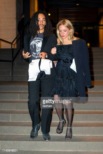 Luka Sabbat and Chloe Sevigny attend Marc Jacobs and Char DeFrancesco's wedding reception at The Grill in Midtown on April 06 2019 in New York City