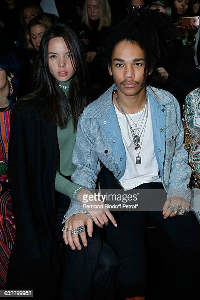 Luka Sabbat and guest attend the Balmain Menswear Fall/Winter 20172018 show as part of Paris Fashion Week on January 21 2017 in Paris France