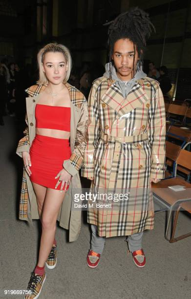 Luka Sabbat and Sarah Synder wearing Burberry at the Burberry February 2018 show during London Fashion Week at Dimco Buildings on February 17 2018 in...