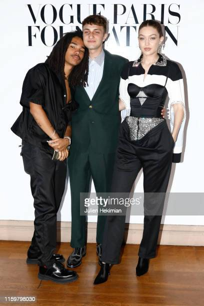 Luka Sabbat Anwar Hadid and Gigi Hadid attend the Vogue diner as part of Paris Fashion Week Haute Couture Fall Winter 2020 at Le Trianon on July 02...