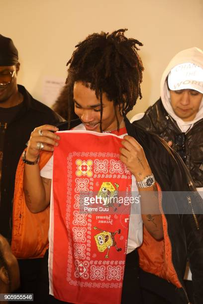 Luka Sabbat attends the Off/White Menswear Fall/Winter 20182019 show as part of Paris Fashion Week on January 17 2018 in Paris France