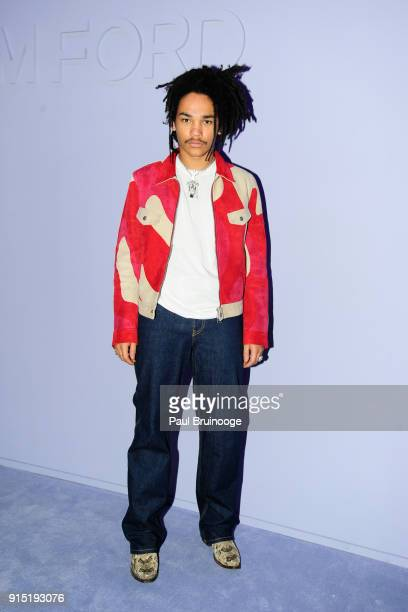 Luka Sabbat attends the Tom Ford Men's Arrivals February 2018 New York Fashion Week at Park Avenue Armory on February 6 2018 in New York City