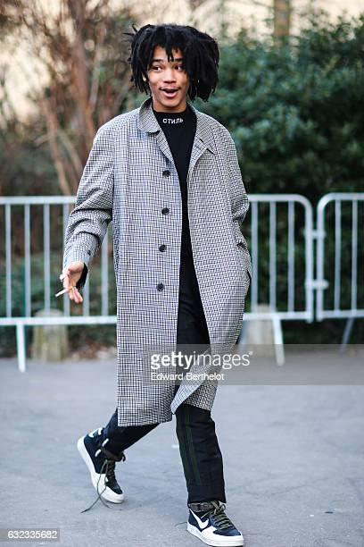 Luka Sabbat is seen outside the Dior show at the Grand Palais during Paris Fashion Week Menswear Fall/Winter 2017/2018 on January 21 2017 in Paris...
