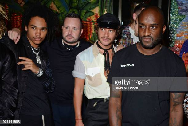 Luka Sabbat, Kim Jones, Luke Day and Virgil Abloh attend the GQ Style and Browns LFWM Party at Annabels on June 10, 2018 in London, England.