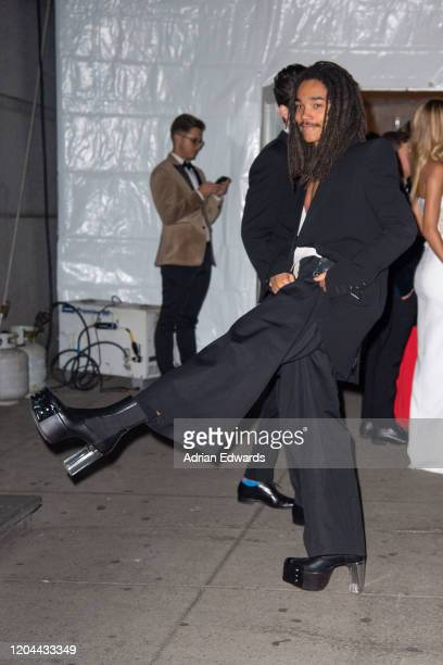 Luka Sabbat outside the amFAR Gala held at Cipriani Wall St on February 5, 2020 in New York City.
