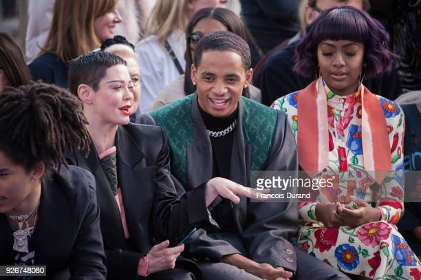 Luka Sabbat Rose McGowan guest Justin Skye and Yolandi Visser attend the Vivienne Westwood show as part of the Paris Fashion Week Womenswear...