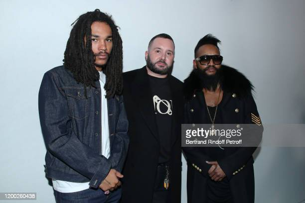 Luka Sabbat, Stylist Kim Jones and a guest pose after the Dior Homme Menswear Fall/Winter 2020-2021 show as part of Paris Fashion Week on January 17,...
