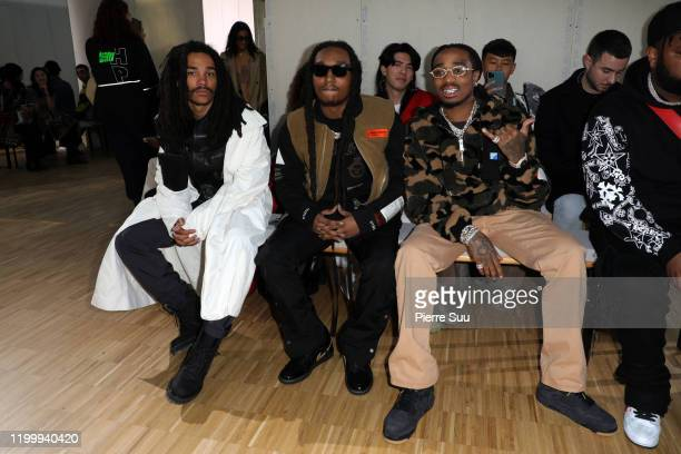 Luka Sabbat, Takeoff and Quavo from Migos attend the Heron Preston Menswear Fall/Winter 2020-2021 show as part of Paris Fashion Week on January 16,...
