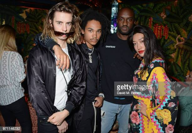 Luka Sabbat Virgil Abloh and Peggy Gou attend the GQ Style and Browns LFWM Party at Annabels on June 10 2018 in London England