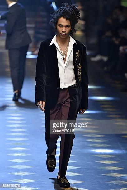 Luka Sabbat walks the runway at the Dolce Gabbana show during Milan Men's Fashion Week Fall/Winter 2017/18 on January 14 2017 in Milan Italy