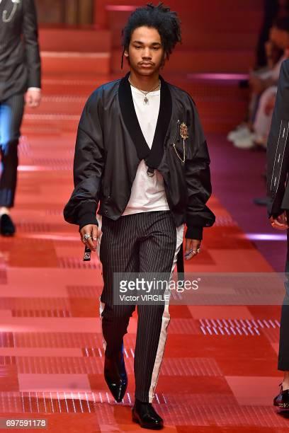 Luka Sabbat walks the runway at the Dolce Gabbana show during Milan Men's Fashion Week Spring/Summer 2018 on June 17 2017 in Milan Italy