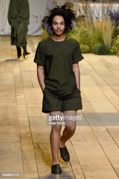 Luka Sabbat walks the runway during the HM Studio show as part of the Paris Fashion Week on March 1 2017 in Paris France