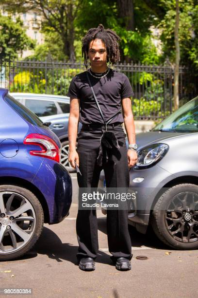Luka Sabbat wearing a black t shirt and black pants is seen in the streets of Paris after the Rick Owens show during Paris Men's Fashion Week...