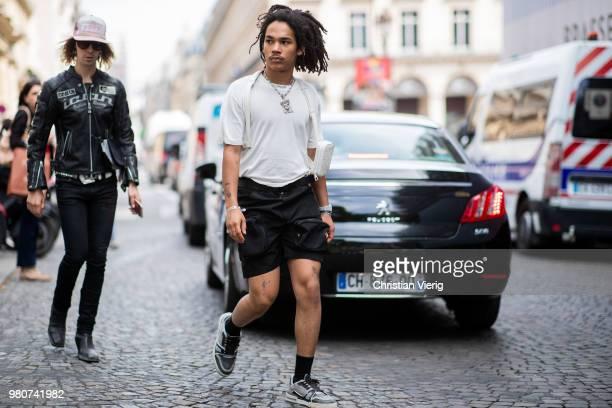 Luka Sabbat wearing shorts is seen outside Louis Vuitton on day three of Paris Fashion Week Menswear SS19 on June 21 2018 in Paris France
