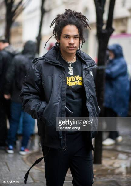 Luka Sabbat wearing The North Face jacket is seen outside Sacai on January 20 2018 in Paris France