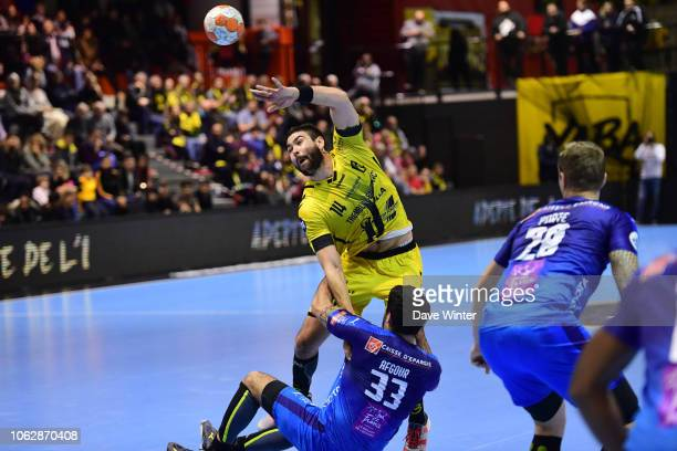 Luka Sebetic of Tremblay and Benjamin Afgour of Montpellier during the Lidl Starligue match between Tremblay and Montpellier on November 17 2018 in...