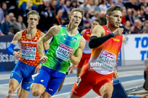 Luka SLO competing in the 400m Men Final event during day TWO of the European Athletics Indoor Championships 2019 at Emirates Arena in Glasgow...