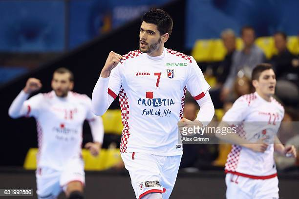 Luka Stepancic of Croatia celebrates a goal during the 25th IHF Men's World Championship 2017 match between Croatia and Chile at Kindarena on January...