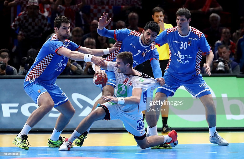 Luka Stepancic #7 of Croatia challenges Bjarte Myrhol #8 of Norway during the 25th IHF Men's World Championship 2017 Semi Final match between Croatia and Norway at Accorhotels Arena on January 27, 2017 in Paris, France.