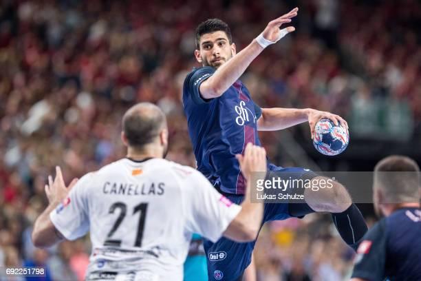 Luka Stepancic of Paris throws the ball during the VELUX EHF FINAL4 Final match between Paris SaintGermain Handball and HC Vardar at Lanxess Arena on...