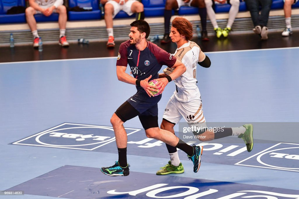 Luka Stepancic of PSG and Ali Zein of Aix during the Lidl StarLigue match between Paris Saint Germain and Aix at Salle Pierre Coubertin on May 16, 2018 in Paris, France.