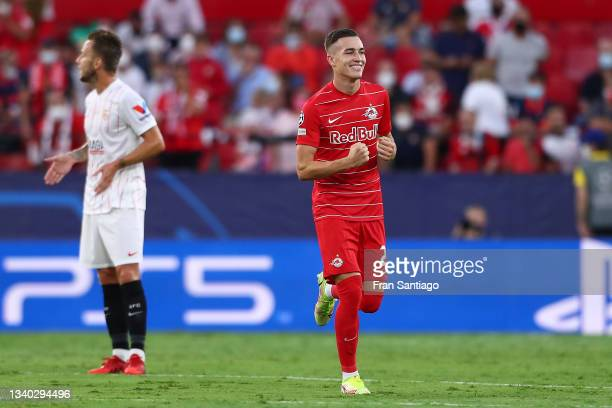Luka Sucic of RB Salzburg celebrates after scoring their team's first goal during the UEFA Champions League group G match between Sevilla FC and RB...